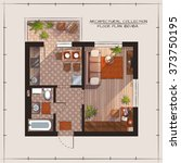 architectural color floor plan... | Shutterstock .eps vector #373750195