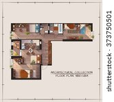 architectural color floor plan... | Shutterstock .eps vector #373750501