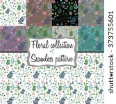 collection  seamless floral... | Shutterstock .eps vector #373755601