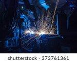 team welding robots represent... | Shutterstock . vector #373761361