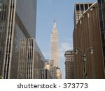 This is a shot of the Empire State Building along with Madison Square Garden. - stock photo