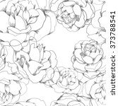 black and white vector floral... | Shutterstock .eps vector #373788541