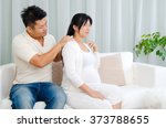 asian husband massage for his... | Shutterstock . vector #373788655