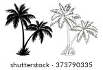 tropical palm trees  black... | Shutterstock .eps vector #373790335