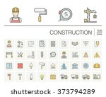 vector thin line icons set and... | Shutterstock .eps vector #373794289