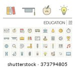 vector thin line icons set and... | Shutterstock .eps vector #373794805