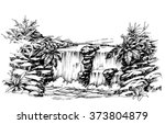 waterfall drawing  flowing... | Shutterstock .eps vector #373804879