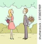 romantic summer scene with... | Shutterstock .eps vector #373805989
