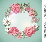 vintage floral card. border of... | Shutterstock .eps vector #373808461