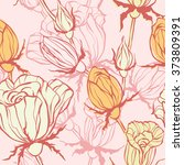 seamless pattern with  roses.... | Shutterstock .eps vector #373809391