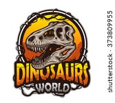 dinosaurs world emblem with... | Shutterstock .eps vector #373809955