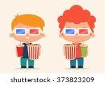 cute cartoon kids with popcorn...   Shutterstock .eps vector #373823209