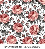 roses. seamless classic pattern.... | Shutterstock .eps vector #373830697