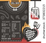 grill menu design. abstract bbq ... | Shutterstock .eps vector #373832215
