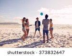 group of young people playing... | Shutterstock . vector #373832647