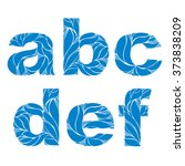 marine style blue vector font ...