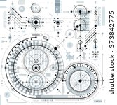 technical drawing with dashed... | Shutterstock .eps vector #373842775