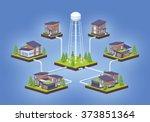 water supply infographics. 3d... | Shutterstock .eps vector #373851364