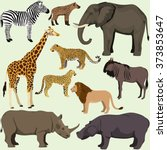vector set of cartoon african... | Shutterstock .eps vector #373853647