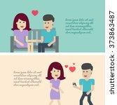 couple in love set illustration ... | Shutterstock .eps vector #373863487