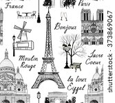 travel paris seamless pattern.... | Shutterstock .eps vector #373869067