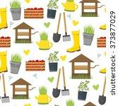 seamless garden pattern. spring ... | Shutterstock .eps vector #373877029