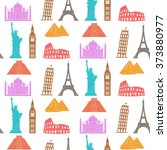 world landmarks vector seamless ... | Shutterstock .eps vector #373880977
