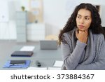 businesswoman with hand on chin ... | Shutterstock . vector #373884367