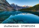Moraine Lake Panorama In Banff...