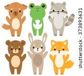 set of six of cute cartoon baby ... | Shutterstock .eps vector #373893631