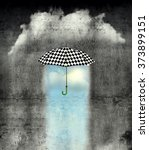 Small photo of A surreal image of an umbrella checkered black and white, where below it there is good weather and bad weather with rain around it
