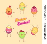 easter painted eggs with face... | Shutterstock .eps vector #373900807