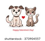 a cat and a dog. valentines day ... | Shutterstock .eps vector #373904557