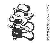 vector chef pig | Shutterstock .eps vector #373907797
