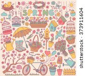 colorful spring items set.... | Shutterstock .eps vector #373911604