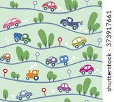 cars on the road. funny... | Shutterstock .eps vector #373917661