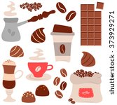 coffee time theme   vector hand ... | Shutterstock .eps vector #373929271
