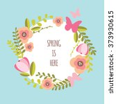 spring floral wreath banner | Shutterstock .eps vector #373930615