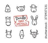 vector doodle style farm... | Shutterstock .eps vector #373937131