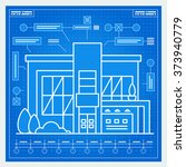 house blueprint scheme. vector. | Shutterstock .eps vector #373940779