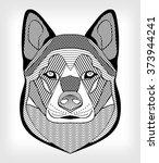 malamute hound head  black and...   Shutterstock .eps vector #373944241