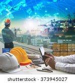 hand of business man working on ... | Shutterstock . vector #373945027