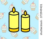 web line icon. two candles.  | Shutterstock .eps vector #373949431