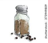 hand draw of black pepper... | Shutterstock .eps vector #373949809