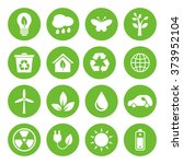 set of vector eco icons in flat ... | Shutterstock .eps vector #373952104