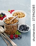 breakfast items on the table... | Shutterstock . vector #373962085