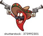 mexican chili pepper holding... | Shutterstock .eps vector #373992301