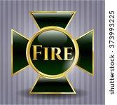 fire golden badge | Shutterstock .eps vector #373993225