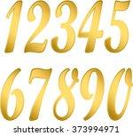 numeral gold  arabic numerals ... | Shutterstock .eps vector #373994971