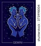 zodiac sign gemini on night... | Shutterstock .eps vector #373998004